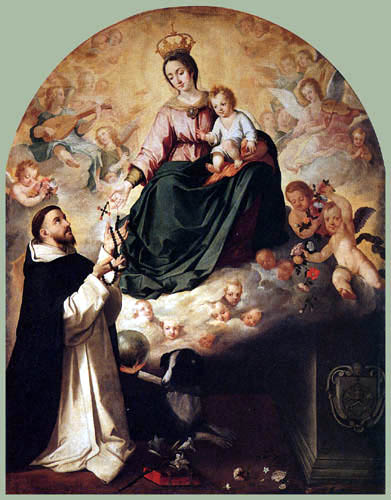 Bartolomé Esteban Murillo (Pérez) - The Virgin Presenting the Rosary to St. Dominic