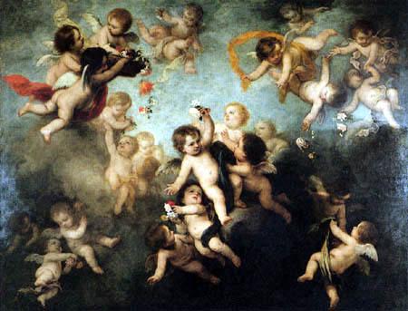 Bartolomé Esteban Murillo (Pérez) - Cherubs Scattering Flowers