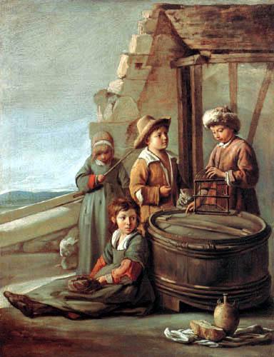 Lois le Nain - Kinder mit einem Vogelkäfig