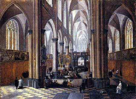 Pieter Neeffs I - Interior of a gothical church