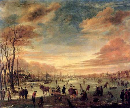 Aert van der Neer - Un paysage d'hiver avec des patineurs