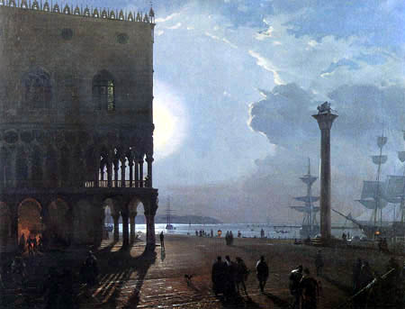 Friedrich Nerly (Nehrlich) - The Piazzetta in Venice at moonlight