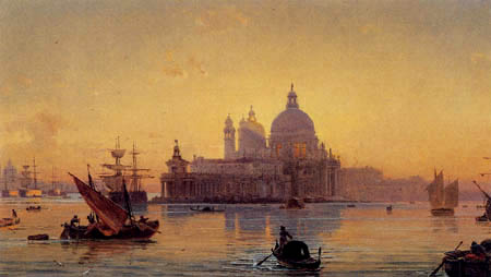 Friedrich Nerly (Nehrlich) - The Salute church in sunset, Venice