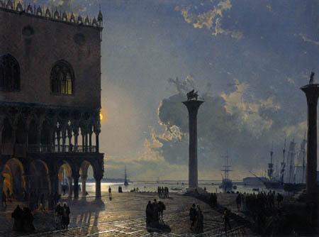Friedrich Nerly (Nehrlich) - Piazetta in Venedig bei Mondschein