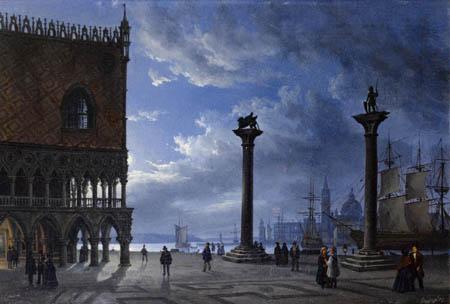 Friedrich Nerly (Nehrlich) - Piazza San Marco, Venedig bei Mondschein