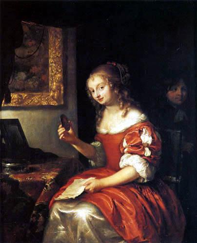 Caspar Netscher - Junge Dame mit einem Brief