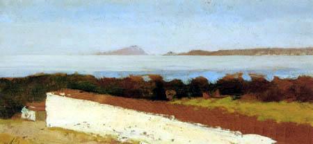 Giuseppe de Nittis - Seelandschaft mit weißer Mauer