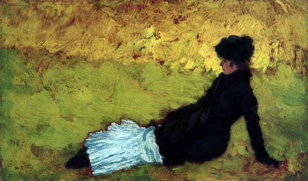 Giuseppe de Nittis - Señora en el prado