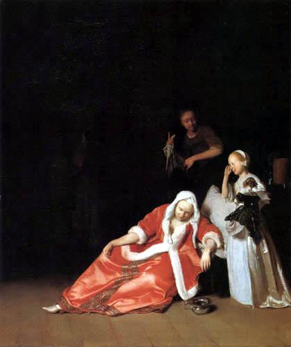 Jacob Ochtervelt - Faint of the lady
