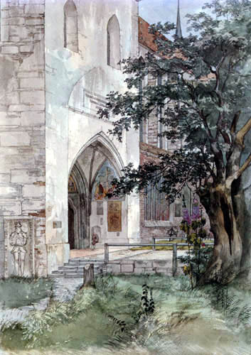 Ernst Ferdinand Oehme - The Entrance of a Gothical Church