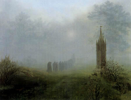 Ernst Ferdinand Oehme - A procession in the fog