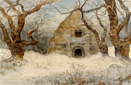 Ernst Ferdinand Oehme - Forest Chapel in the Snow