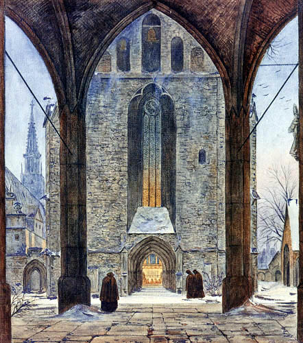 Ernst Ferdinand Oehme - View of a cathedral front