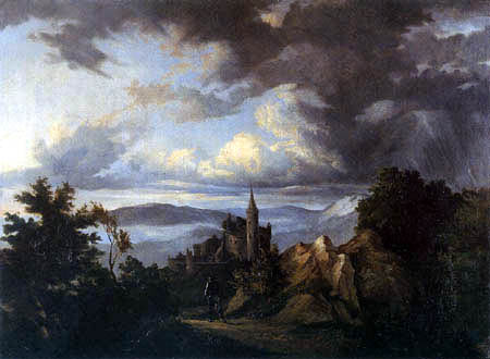 Ernst Ferdinand Oehme - Thunderstorm landscape with castle and knight