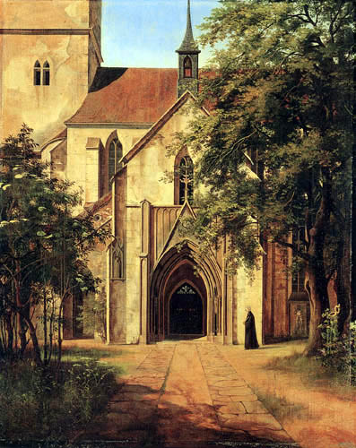 Ernst Ferdinand Oehme - Entrance of a gothical church