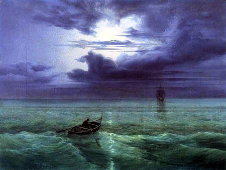 Ernst Ferdinand Oehme - Moon night on the gulf of Salerno