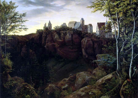 Ernst Ferdinand Oehme - Castle Highstone in Saxonian Switzerland