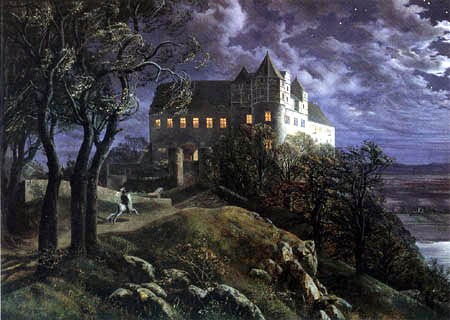 Ernst Ferdinand Oehme - Castle Scharfenberg at night