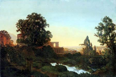 Ernst Ferdinand Oehme - Villa d´Este into Tivoli