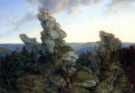 Ernst Ferdinand Oehme - The Greifensteine into the Saxonian Ore Mountains