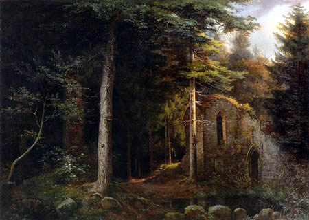 Ernst Ferdinand Oehme - Gothical church ruin in the forest