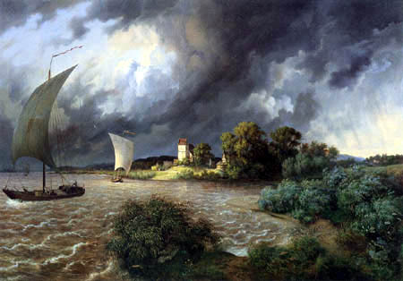 Ernst Ferdinand Oehme - Thunderstorm at the village Kaditz