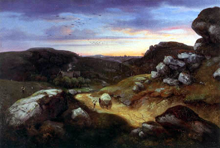 Ernst Ferdinand Oehme - Rocky landscape with a city in the distance