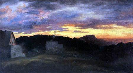Ernst Ferdinand Oehme - Landscape in sunset