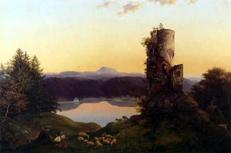 Ernst Ferdinand Oehme - Autumn evening. Purged control room at the lake