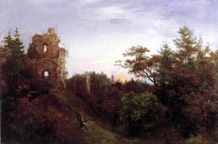 Ernst Ferdinand Oehme - Castle ruin in the forest
