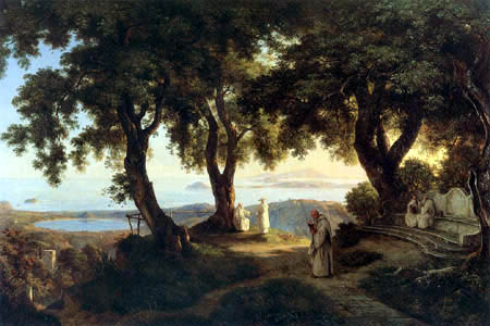 Ernst Ferdinand Oehme - Camaldulensy monastery into Naples