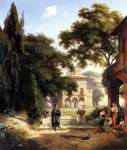 Ernst Ferdinand Oehme - The villa of Raffael in Rome