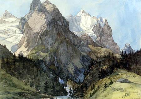 Ernst Ferdinand Oehme - Rosenlaui Glacier and Wetterhorn, Switzerland