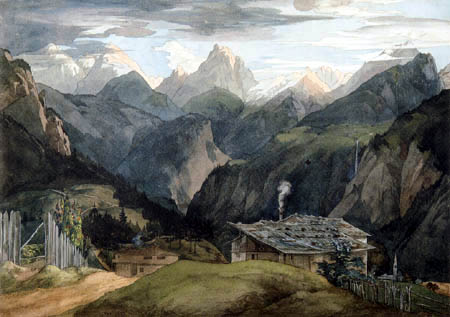 Ernst Ferdinand Oehme - Alps of Tyrol near Niederndorf in the evening