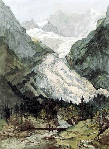 Ernst Ferdinand Oehme - Alpine glacier