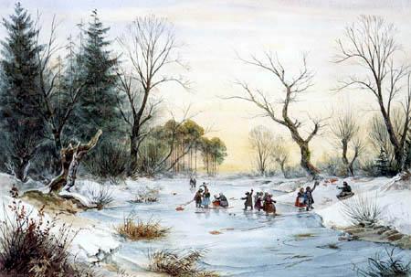 Ernst Ferdinand Oehme - Children on the ice