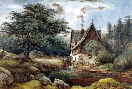 Ernst Ferdinand Oehme - Mill in the Eichtal