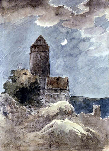 Ernst Ferdinand Oehme - Castle in the Moonlight