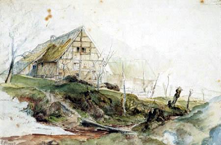 Ernst Ferdinand Oehme - Bauernhaus mit Scheune