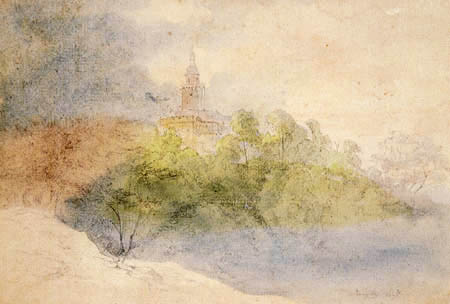 Ernst Ferdinand Oehme - Castle Falconstone in the fog