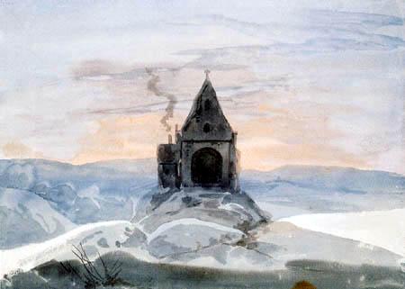 Ernst Ferdinand Oehme - Mountain chapel in the winter