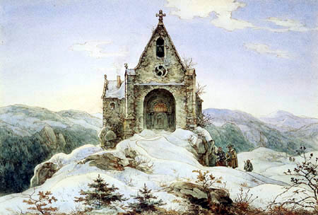 Ernst Ferdinand Oehme - Mountain chapel in the winter