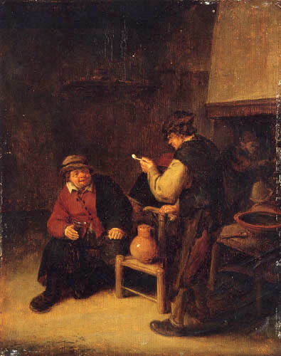 Adriaen van Ostade - Peasants drinking in an interior