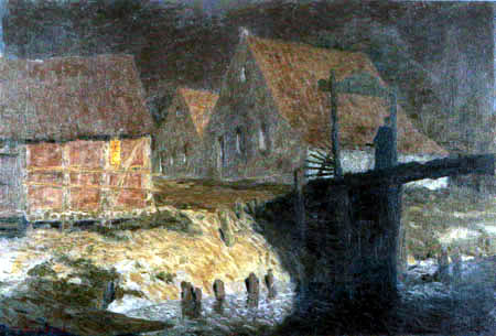 Fritz Overbeck - Moon Night, Houses on the Wörpe