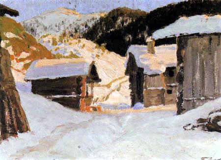 Fritz Overbeck - Davos, Village en plein soleil du soir