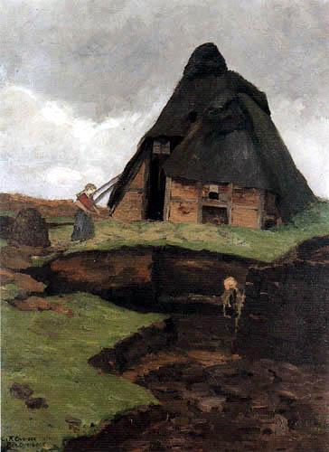 Fritz Overbeck - Une cabane de la lande avec l'enfant et de la femme