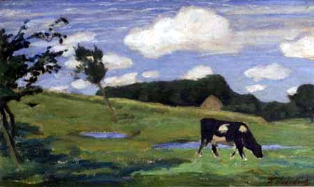 Fritz Overbeck - Pasturing Cow, Worpswede