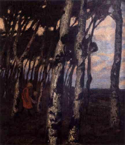 Fritz Overbeck - Soirée sur le bord de la forêt, Worpswede