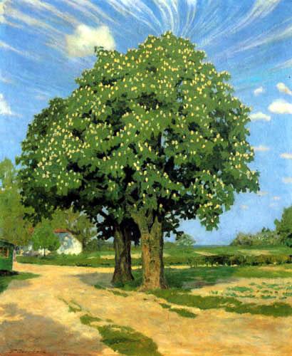 Fritz Overbeck - Blühende Kastanienbäume
