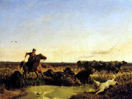 Giuseppe Palizzi - Water buffalos